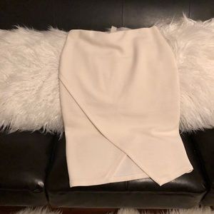 Ivory asymmetric wrap pencil skirt S